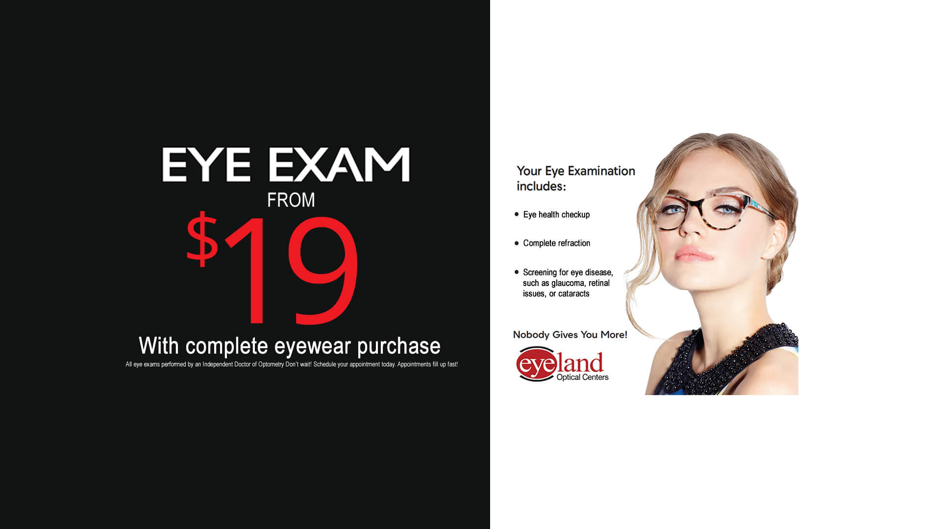 Vision Exams Sale